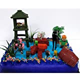 12 Piece MINECRAFT Themed Birthday Cake Topper Set Featuring Minecraft Characters and Decorative Themed Accessories