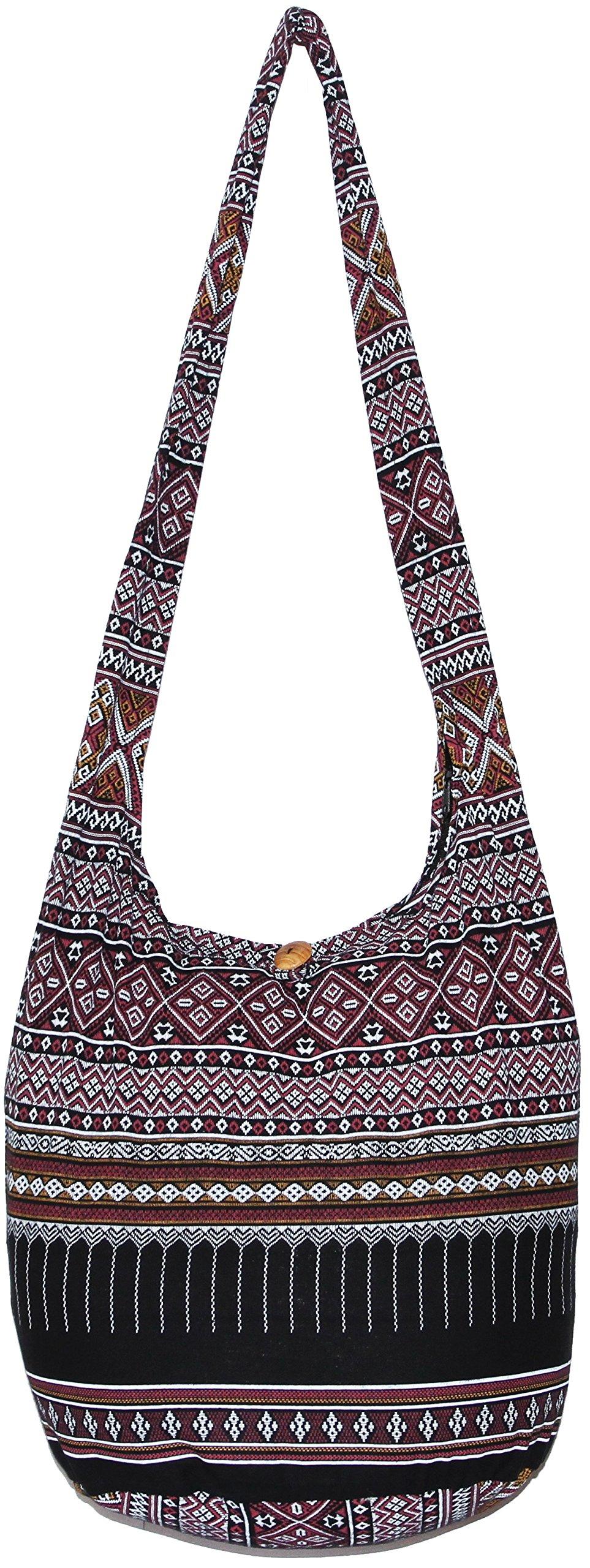 Hippie Classics Colorful Bohemian Shoulder Hobo Boho Cross Body Bag (Black)