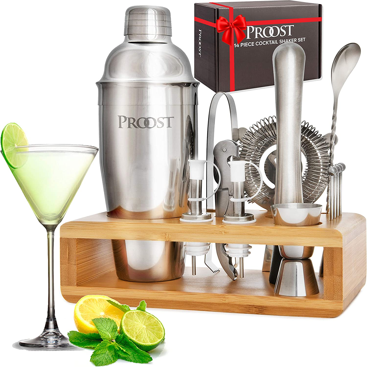 14-piece Stainless Steel Cocktail Shaker Set