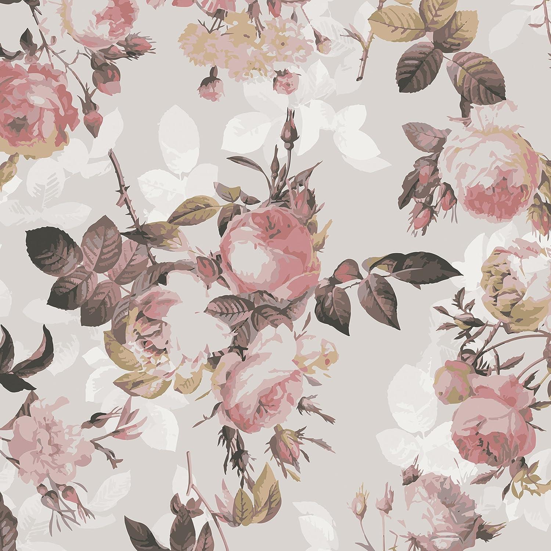 Klebefolie - Vintage Blumen-Muster mit Rosen, Dekorfolie, Bastelfolie, DIY, Designfolie, Sticker, Holzfolie, Glasfolie, Meterware, Größe HxB  300cm x 100cm