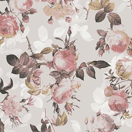 Pellicola adesiva - Vintage floral pattern with roses, carta adesiva ...