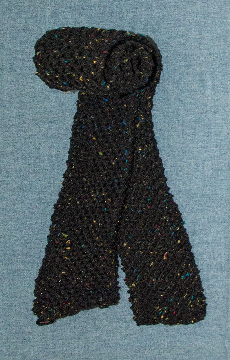 Men's or Women's Unisex Scarf, Hand Knit, Black Tweed