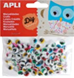 APLI - Bolsa ojos móviles colores con pestañas redondos adhesivos, 100 uds