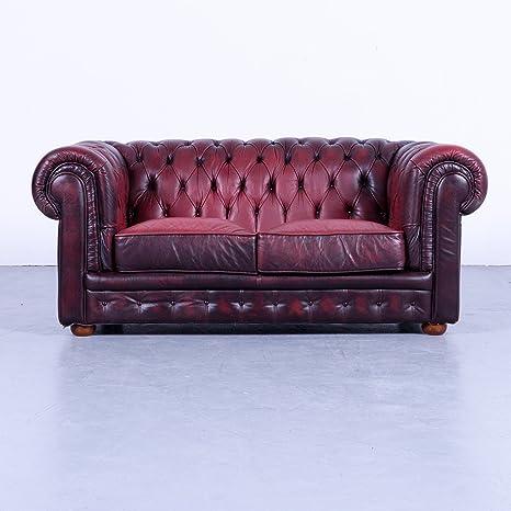 Chesterfield - Sofá oxbl Brentwood Rojo Piel Vintage sofá ...