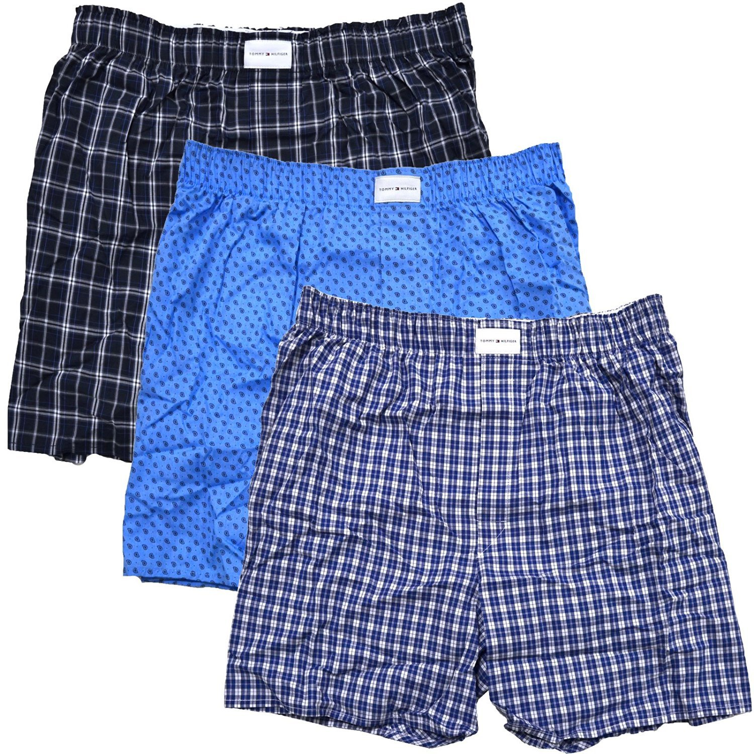Tommy Hilfiger Mens 3-Pack Woven Boxer (Medium, Blue Navy Plaid)