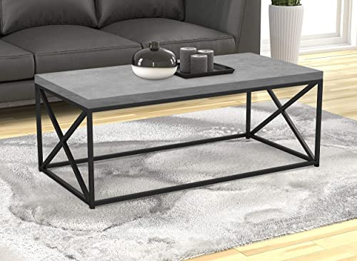 Safdie Co. Living Room Coffee Coktail Tea Center Table-48 L Gray Modern Low Table, Grey Cement