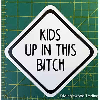 Minglewood Trading Kids up in This Bitch Die Cut Sticker Car Window Truck Minivan 5 inches: Automotive