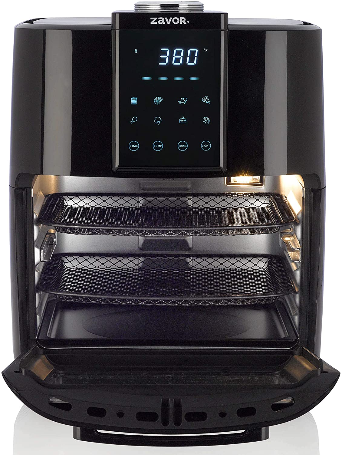 Zavor Crunch All-in-One Air Fryer Oven & Dehydrator with Rotisserie & Racks | Large 12.7Qt Capacity for Optimal Air Circulation, Accessories & Recipe eBook, Black (ZSEAF22)
