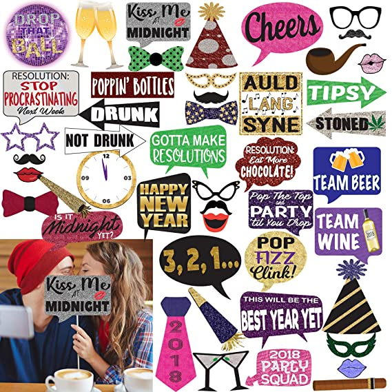 amazoncom new years eve 2018 deluxe photo booth props set of 57 large props by photo party props toys games