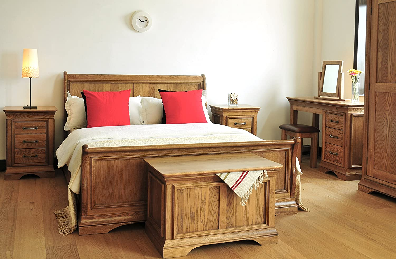 Amazon.de: Paris Eiche massiv Schlitten Bett Rahmen 3 Ft Single Holz ...