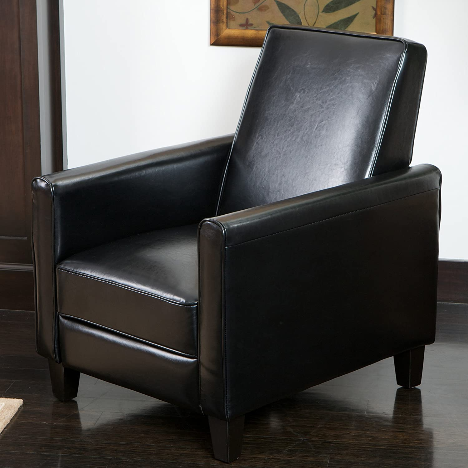 Lucas Black Leather Modern Sleek Recliner Club Chair & Contemporary recliners - Comfortable recliner.com islam-shia.org