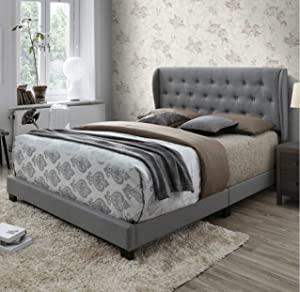 DG Casa Barcelona Diamond Tufted Upholstered Wingback Panel Bed Frame, Queen Size in Gray Fabric, Grey