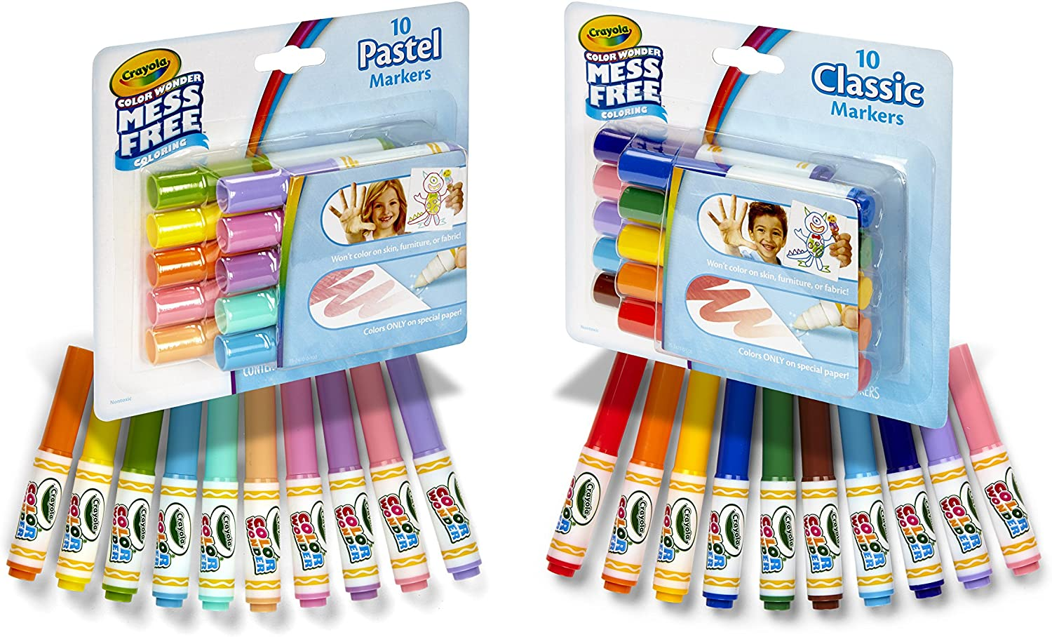 Classic /& Pastel Colors 20 Count 2 Pack Crayola Color Wonder Markers Mess Free Coloring