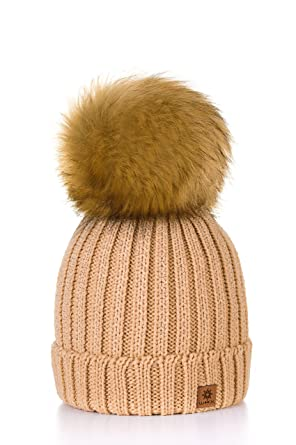 07bacc33d71 MFAZ Morefaz Ltd Women Ladies Winter Beanie Hat Knitted With Small Crystals Large  Pom Pom Cap Ski Snowboard Hats (Beige)  Amazon.co.uk  Clothing