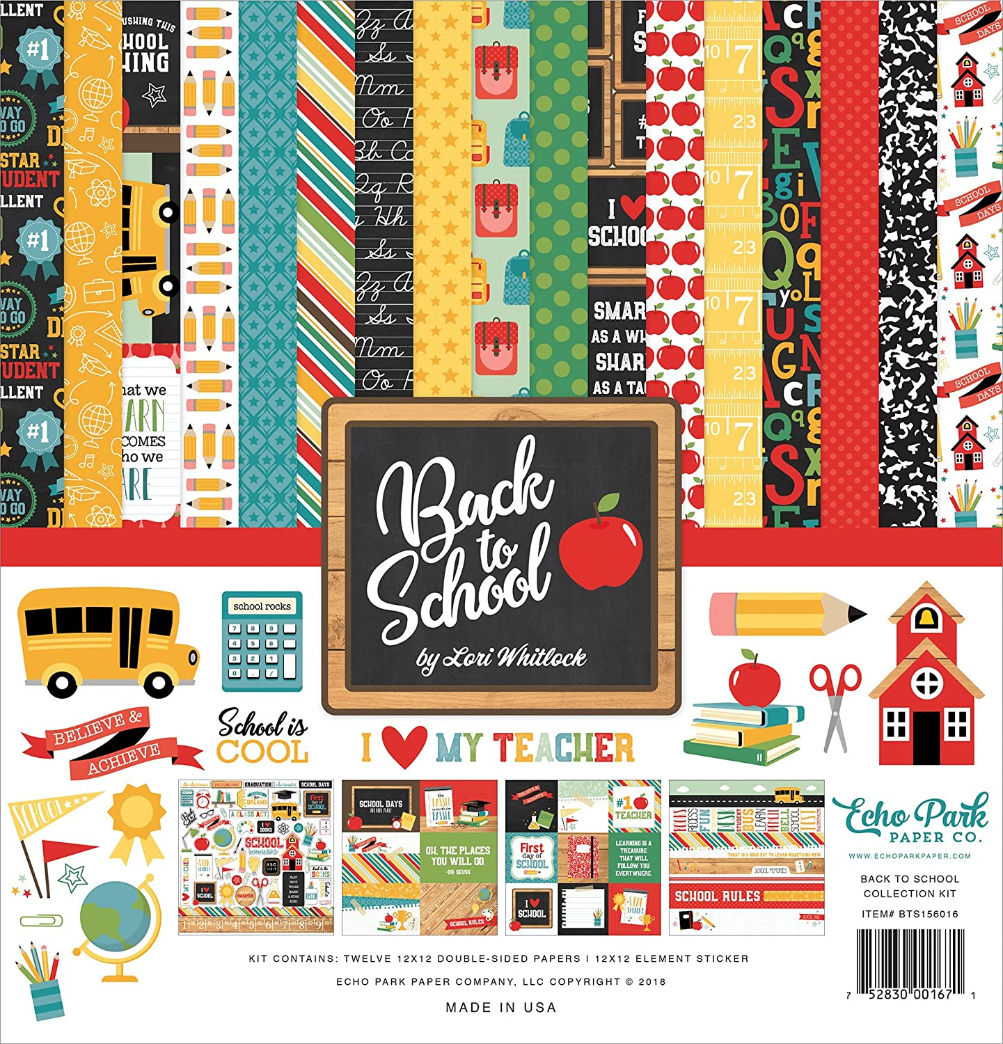 Echo Park Paper Company 1 Back to School Collection Kit Paper, Blue, Black, Red, Green, Yellow
