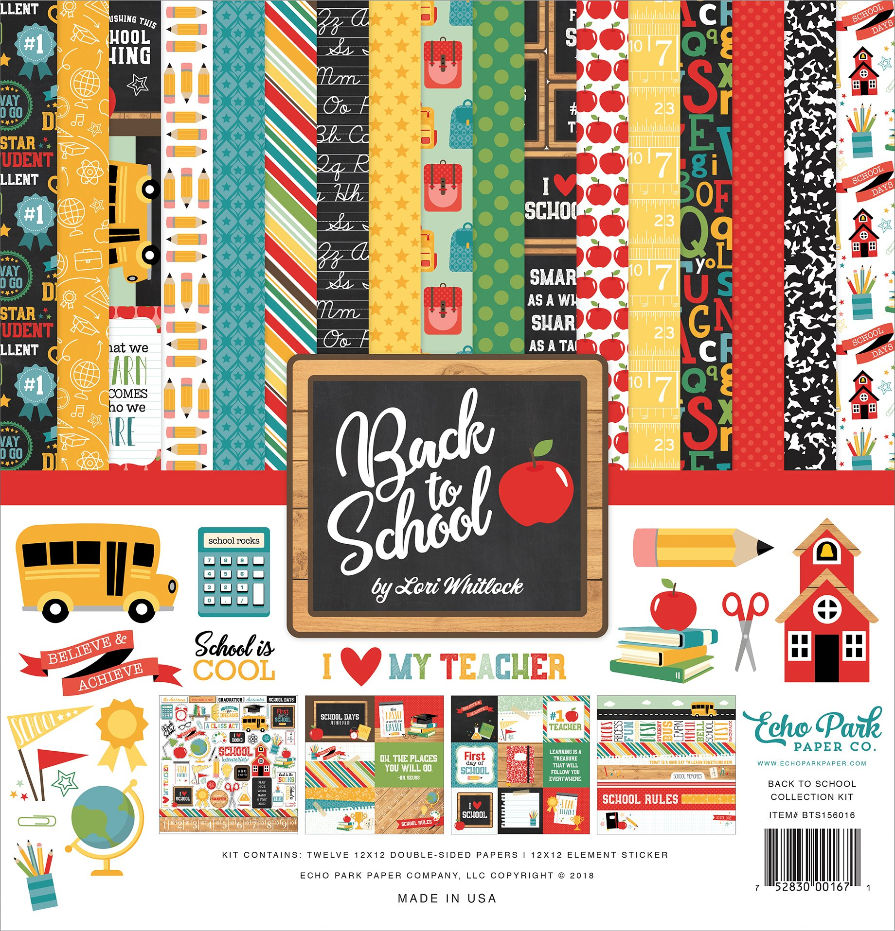 Echo Park Paper Company 1 Back to School Collection Kit Paper, 12-x-12'', Blue/Black/Red/Green/Yellow