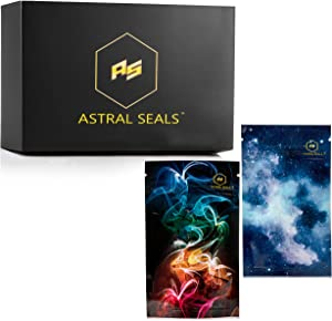 Astral Seals 50 Pieces Mylar Bags, Reusable Smell Proof Bags with Heat Sealable Zip Lock, Pouches For Storage, Premium Design with Transparent Back - 3x5 inch (Galactic Blue)