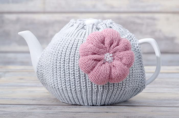 Amazon Kitchen Decor Knitted Teapot Cozy With Dusty Pink Flower