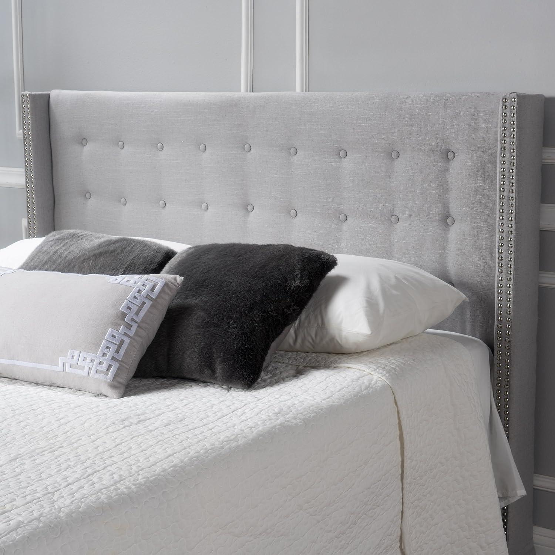 Amazon com josephine light grey fabric full queen headboard