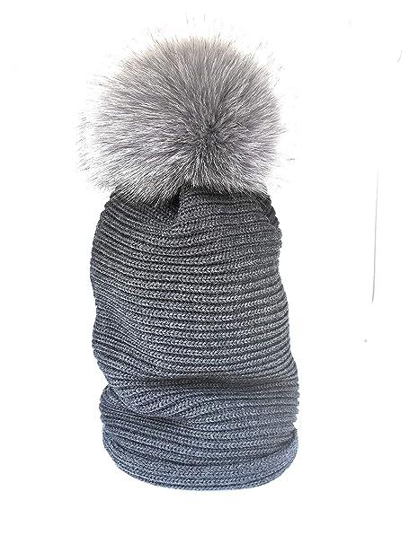Gioielli di Pelo - Cappello 100% Lana con Pon Pon in pelliccia vera colore  grigio 36bdfa28e8b2