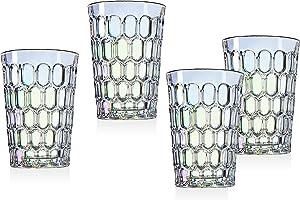 Tumbler Glasses Beverage Glass Cup Rex by Godinger – Rainbow Iridescent - 12 oz – Set of 4