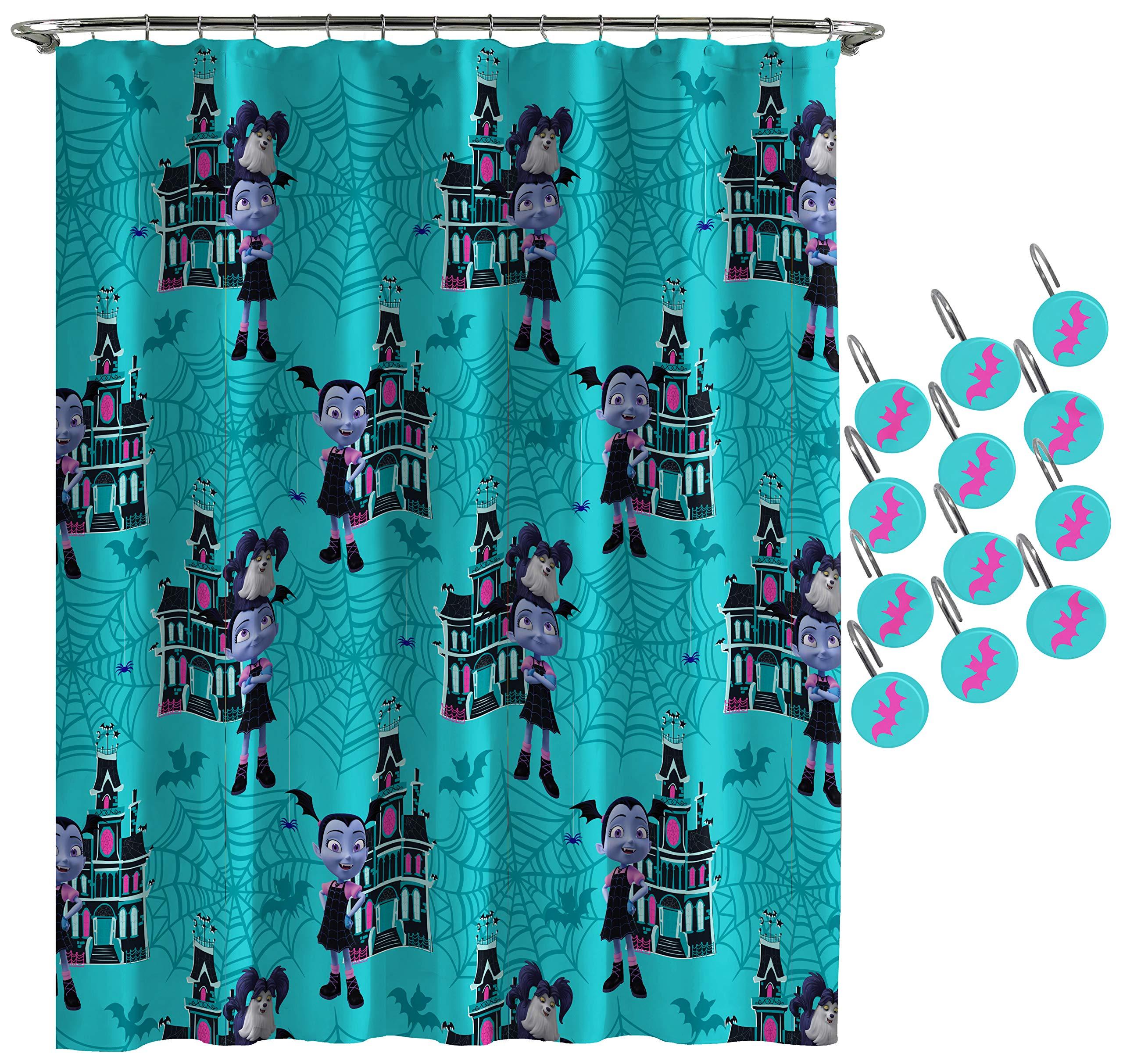 Jay Franco Disney Vampirina Shower Curtain & 12-Piece Hook Set & Easy Use - Kids Bath Features Vampirina Hauntley (Official Disney Product) by Jay Franco (Image #1)