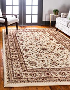 Unique Loom Voyage Traditional Oriental Classic Rug_AGR004, 9 x 12 Feet, Ivory/Gold