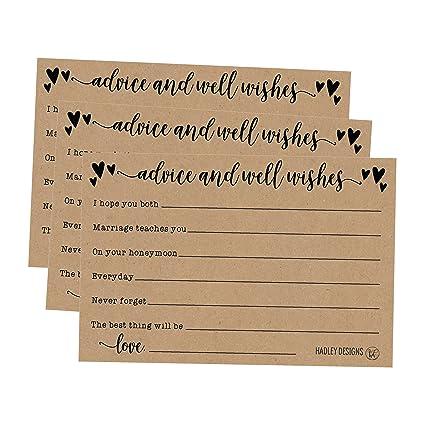 Amazon 50 4x6 Kraft Rustic Wedding Advice Well Wishes For