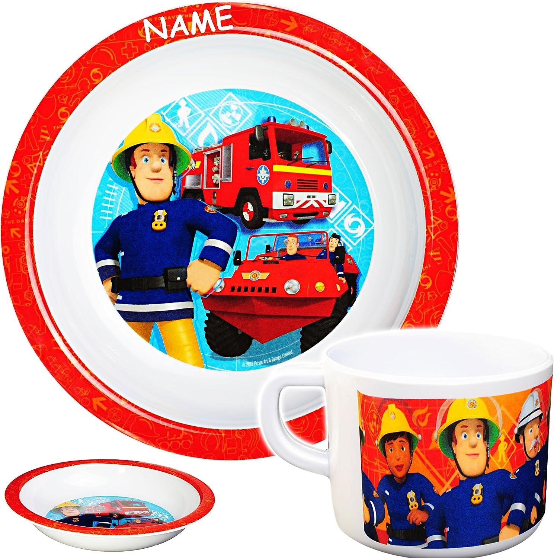 /Ø 19,5 cm inkl aus Melamin // Kunststoff hoher Teller // Suppenteller // M/üslischale Name Tasse Feuerwehrmann Sam Jones alles-meine.de GmbH 2 TLG .. Set BPA frei
