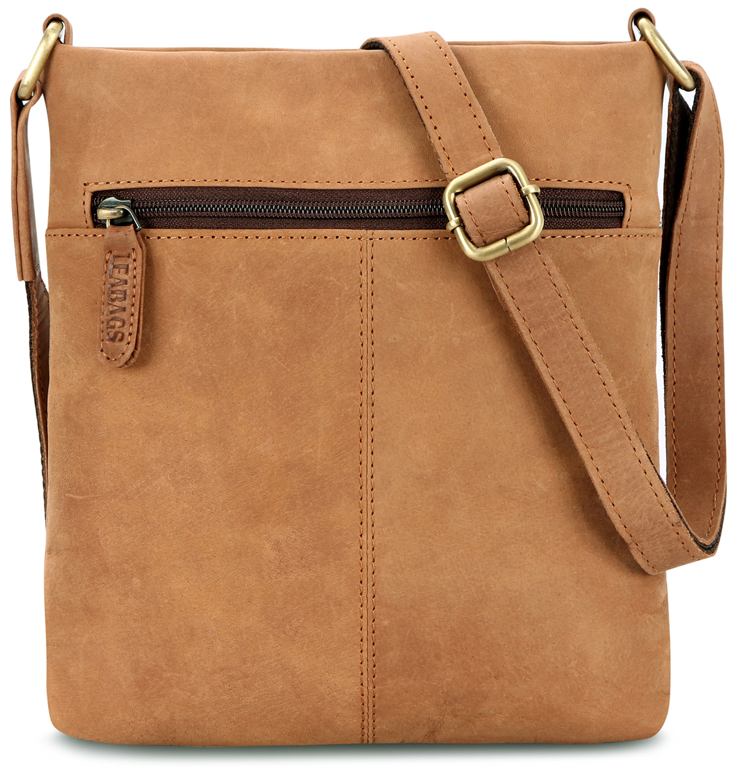 LEABAGS Seattle genuine buffalo leather crossbody bag in vintage style - Brown by LEABAGS (Image #3)