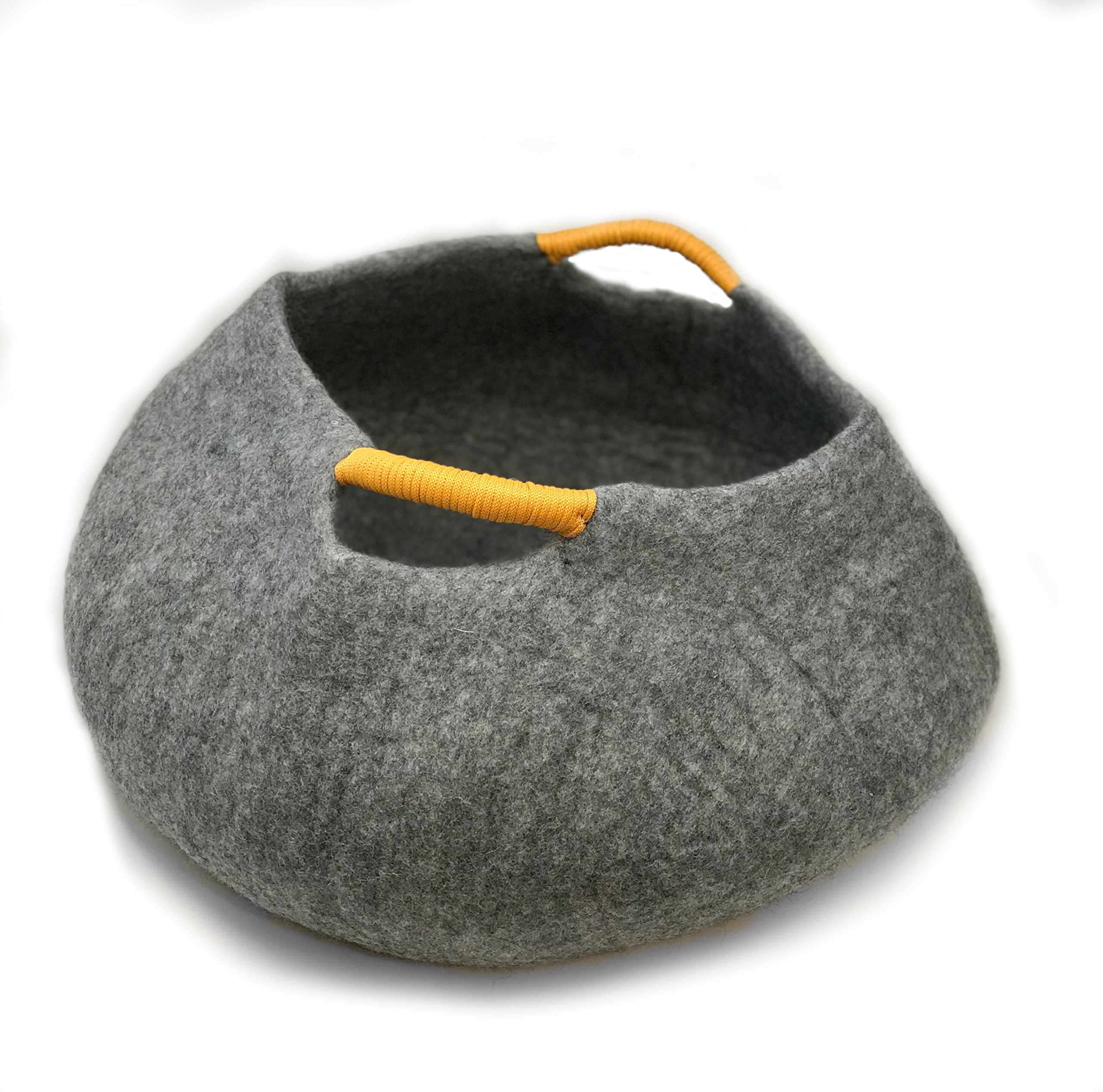 100% Natural Wool LARGE Cat Basket - Handmade Premium Shaped Felt - Makes Great Cat House and Bed for Kitty. For Indoor Cozy Hideaway. Large Soft Bed Area. Store Cat Toys As Well. By iPrimio