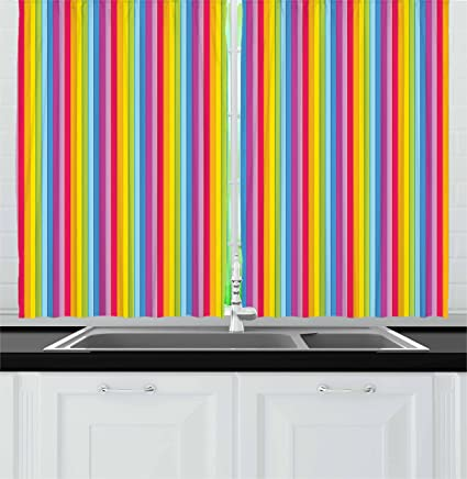 Amazon.com: Lunarable Colorful Kitchen Curtains, Modern ...