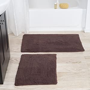 Cotton Bath Mat Set- 2 Piece 100 Percent Cotton Mats- Reversible, Soft, Absorbent and Machine Washable Bathroom Rugs By Lavish Home (Chocolate)