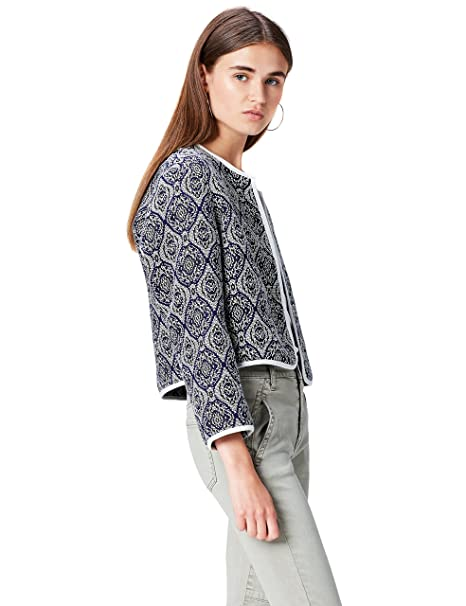 FIND Cropped Jacquard Chaqueta para Mujer, Azul (Blue Mix), 36 (Talla