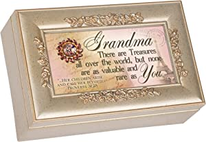 Cottage Garden Grandma Champagne Silver Petite Rose Music Box Jewelry Box Plays Amazing Grace