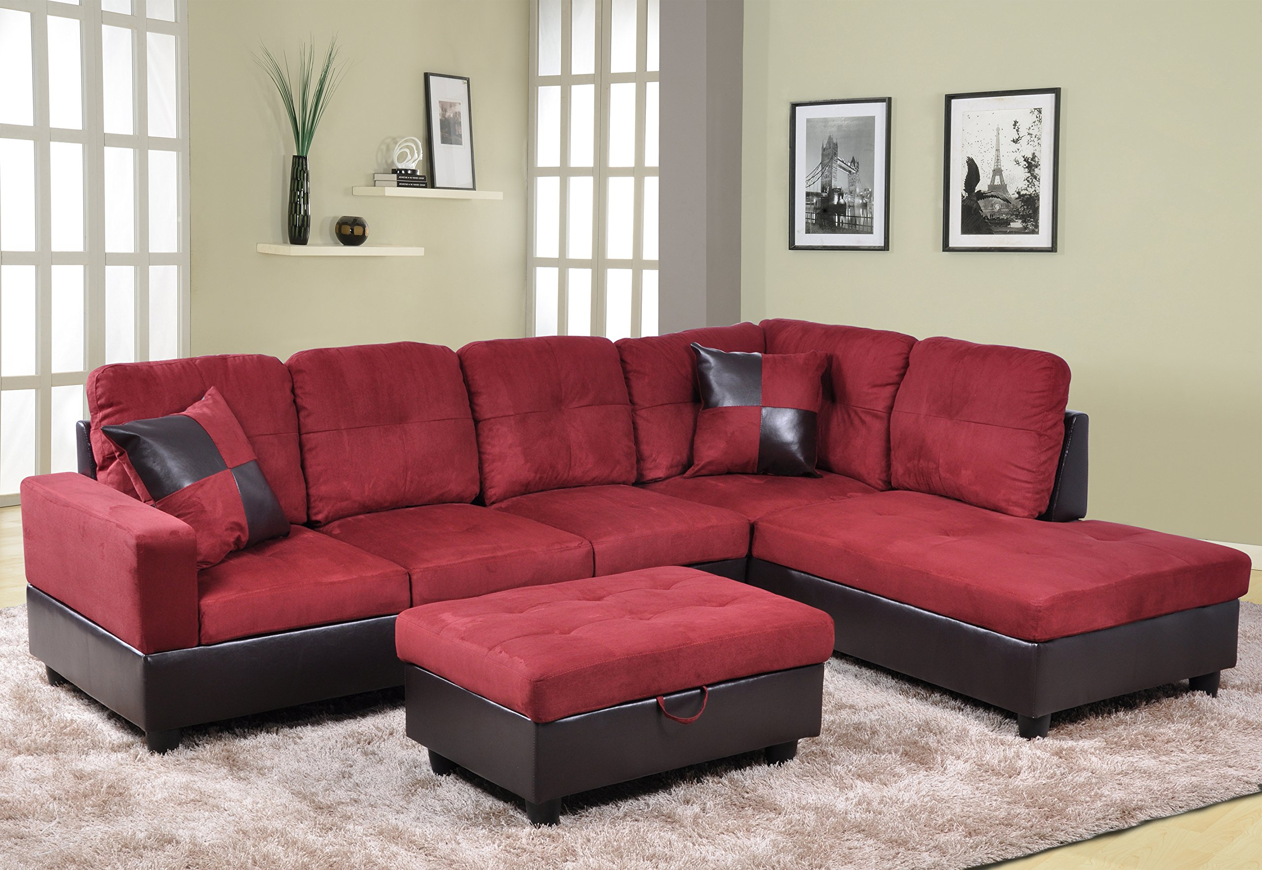Beverly Fine Furniture Andes Microfiber with Faux Leather Sofa Set With Ottoman, Red Raspberry by Beverly Fine Furniture
