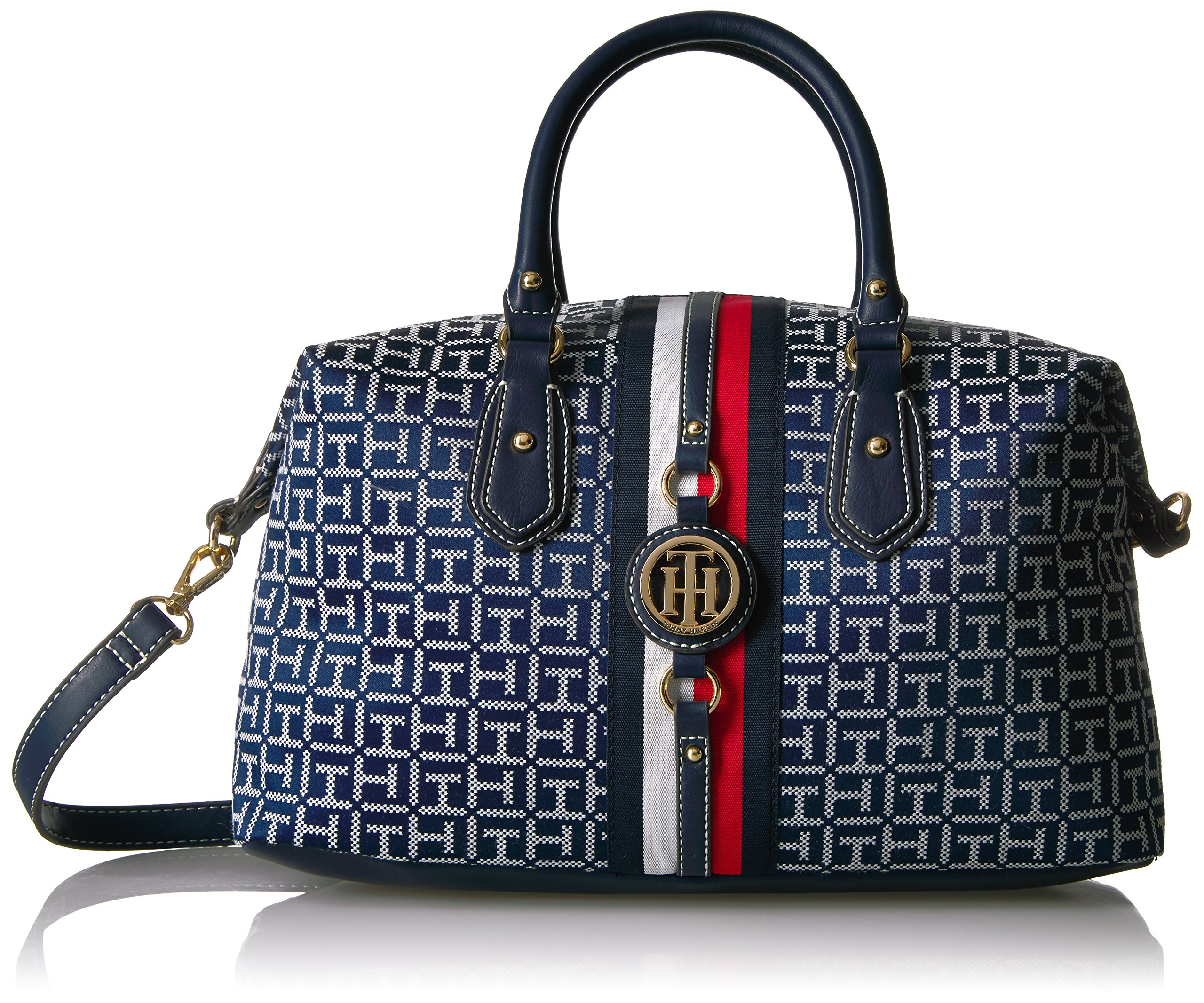 Tommy Hilfiger Handbag for Women Jaden Satchel, Navy/White by Tommy Hilfiger (Image #1)
