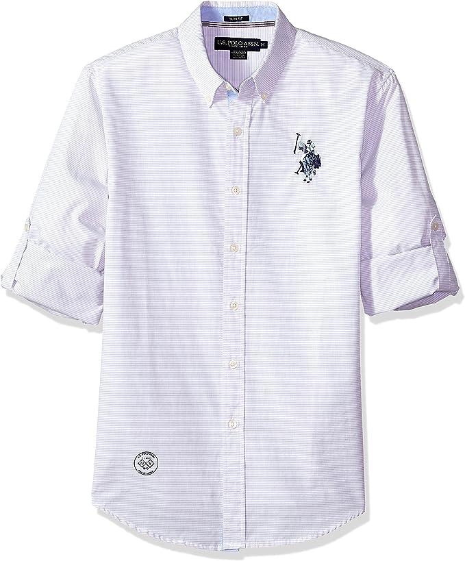 U.S. Polo Assn. Hombre Manga Larga Camisa de Botones - Gris ...