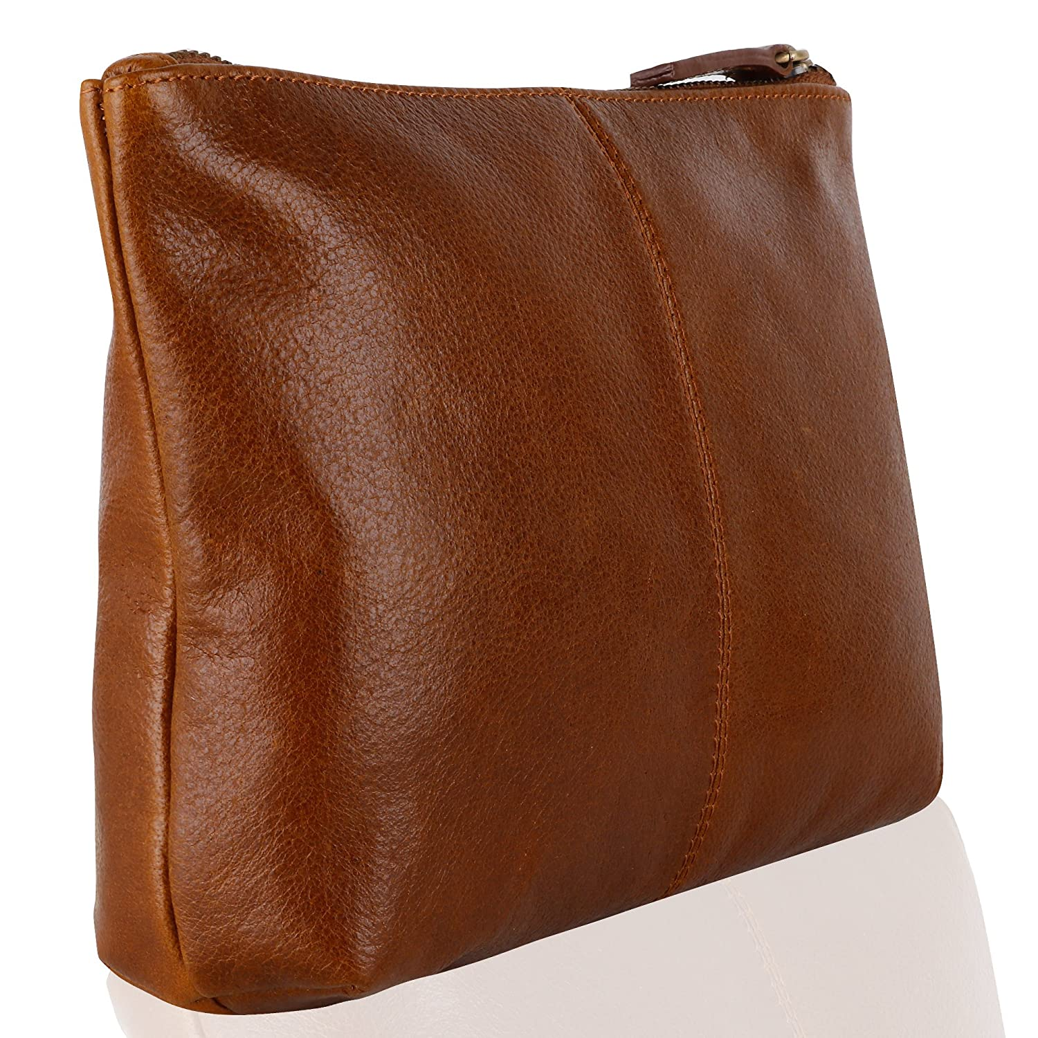 Genuine Leather Cosmetic Bag Toiletry Bag, Make Up pouch (Cognac) SD 018