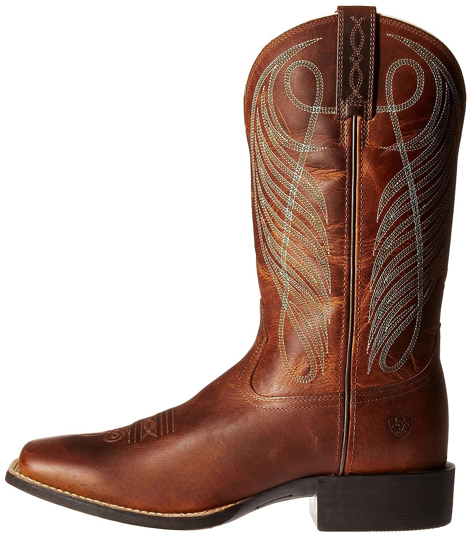 Ariat Women's Round up Wide Square Toe Western Cowboy Boot B01BPW9EY4 6 B(M) US Powder Brown