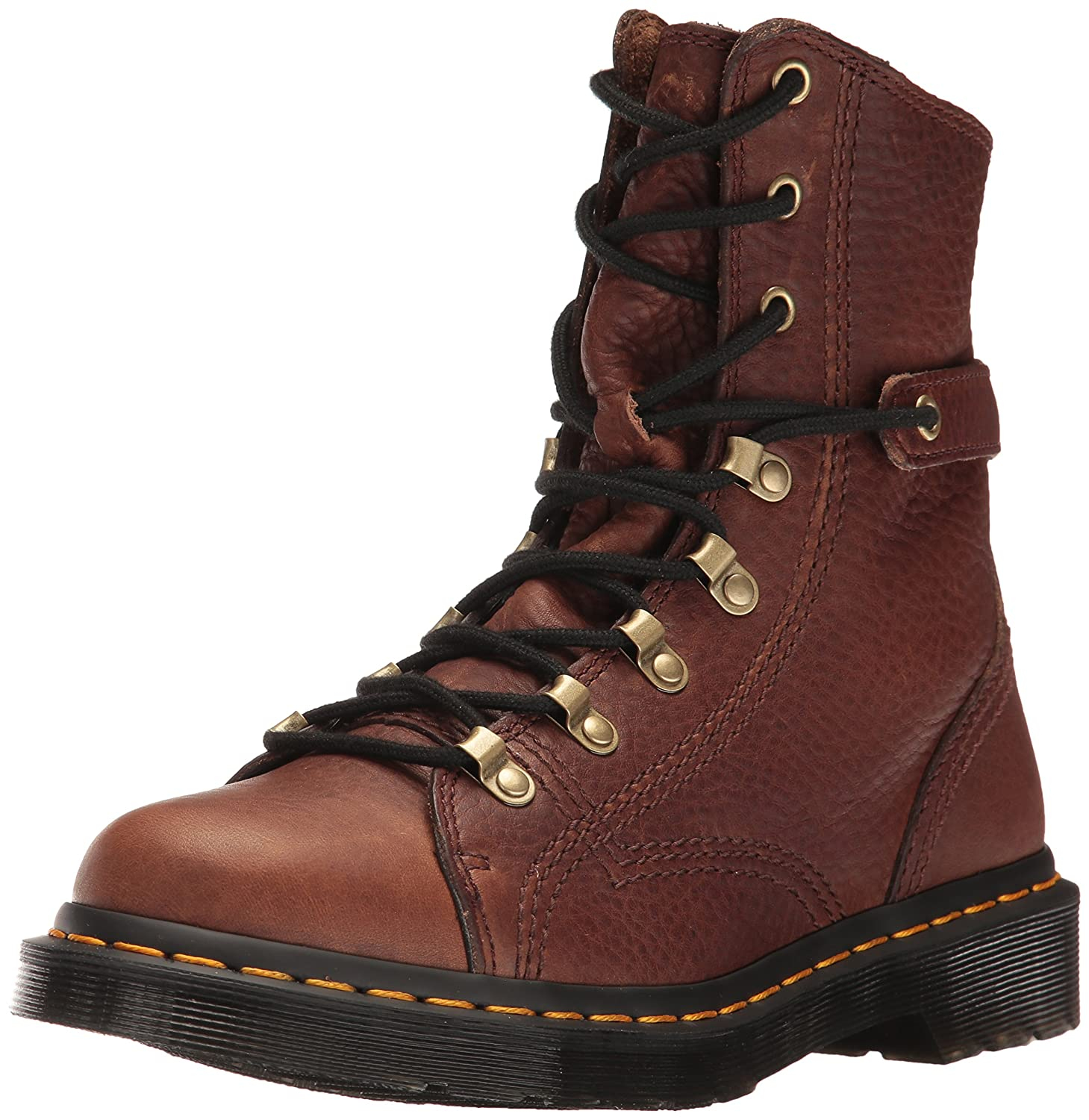 Dr. Martens Women's Coraline in Dark Brown Gizzly Leather Combat Boot B01IDY7WOQ 3 Medium UK (5 US)|Dark Brown Grizzly