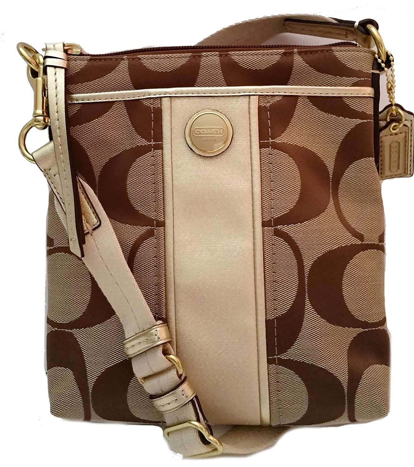 afb4c114aa ... new zealand coach signature stripe swingpack f48806 khaki gold handbags  amazon ef505 c9203
