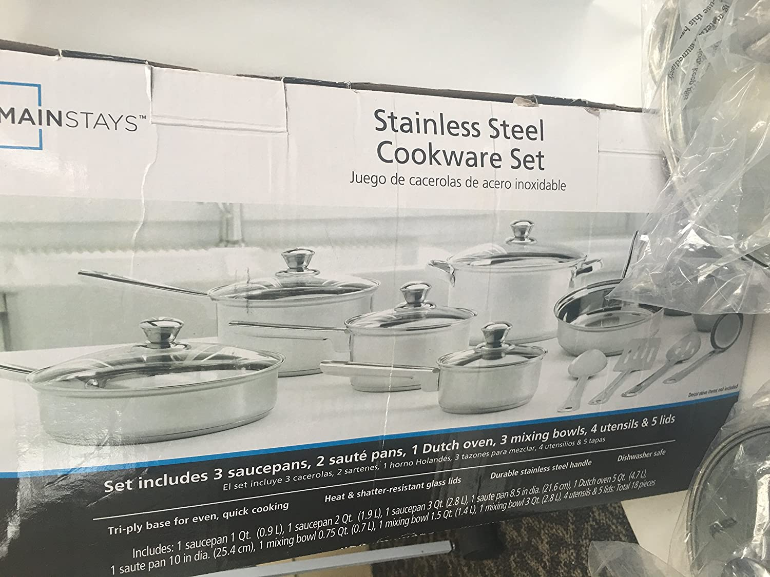 Amazon.com: Mainstays Stainless Steel Cookware Set 18 pc ...
