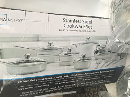 Amazon.com: Mainstays Stainless Steel Cookware Set 18 pc: Kitchen ...