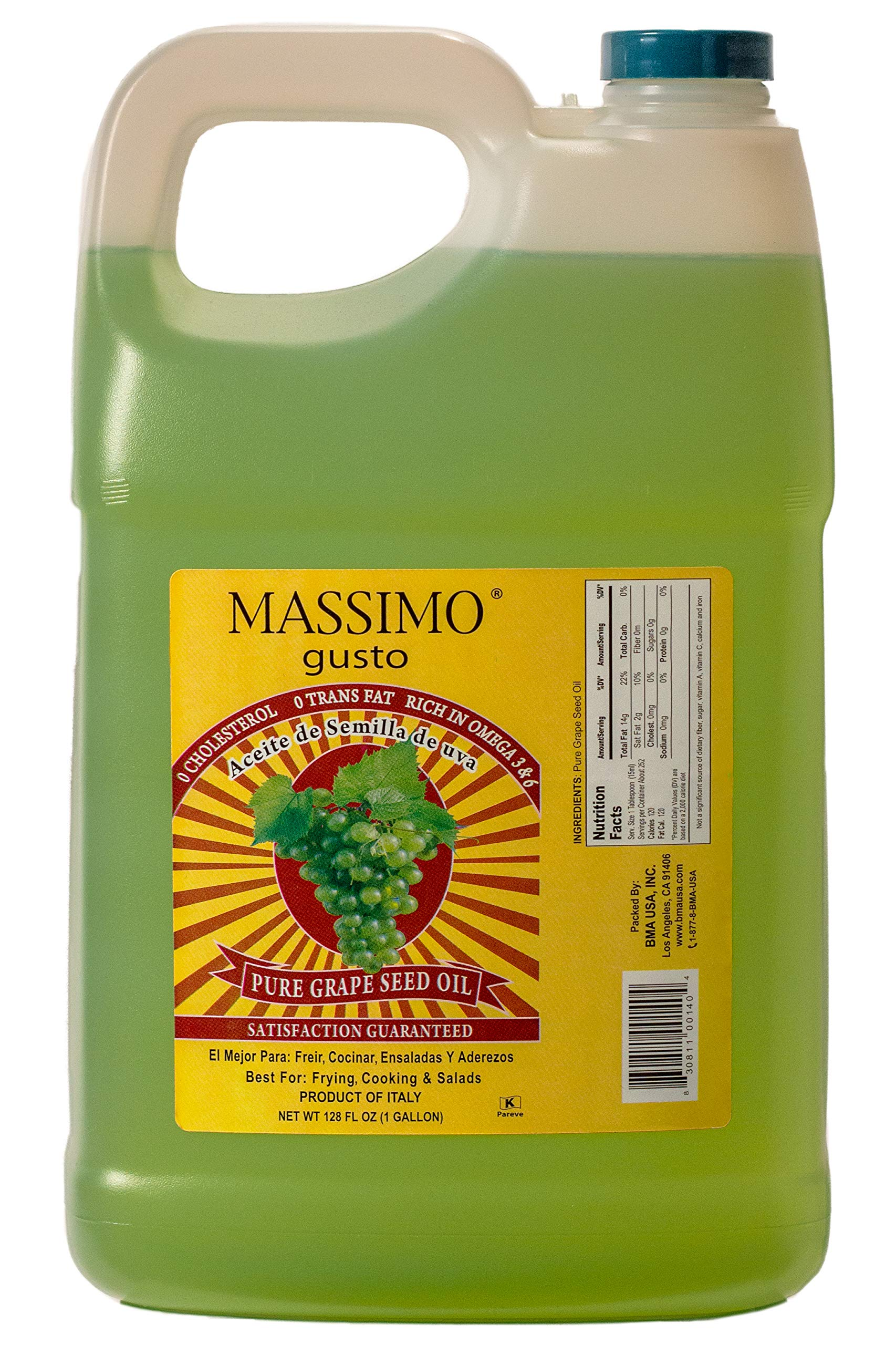 100% Pure Grape Seed Oil - 1 Gallon by Massimo Gusto by Massimo Gusto