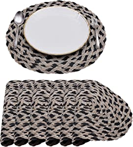 """Decozen Beige/Black Braided Placemats for Dining Table Dia 15"""" Inches Set of 6 Pieces Round Braided PVC Heat Resistant Scratch Proof Easy to Care Table Mats Kitchen and Décor"""