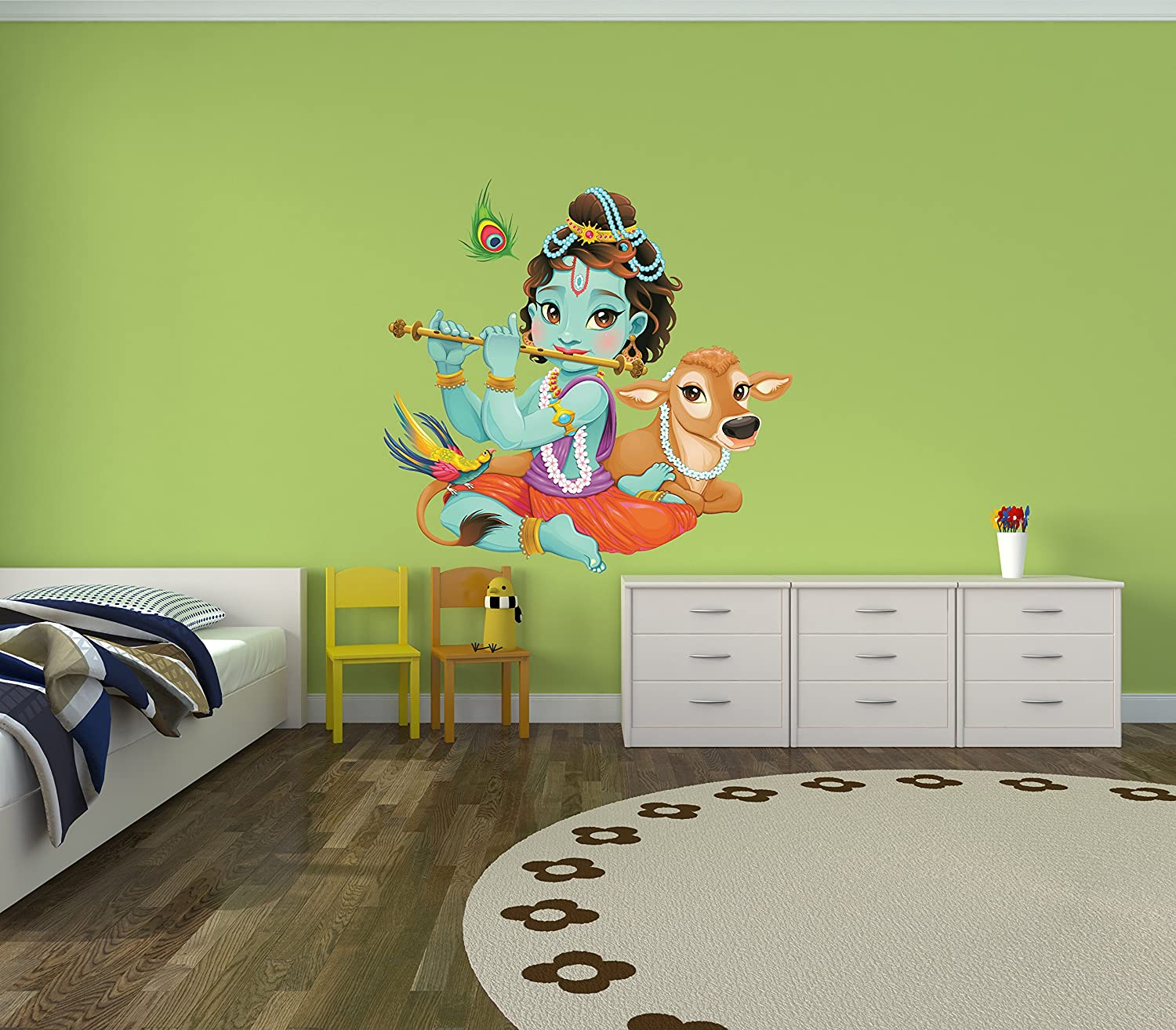 amazon com child krishna playing flute with baby cow wall decal amazon com child krishna playing flute with baby cow wall decal baby krishna playing flute indian deity wall decoration wdset10077 home kitchen