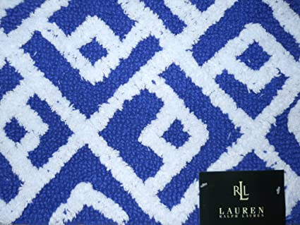 Amazoncom Ralph Lauren Home Cotton Bath Rug Navy Bluewhite