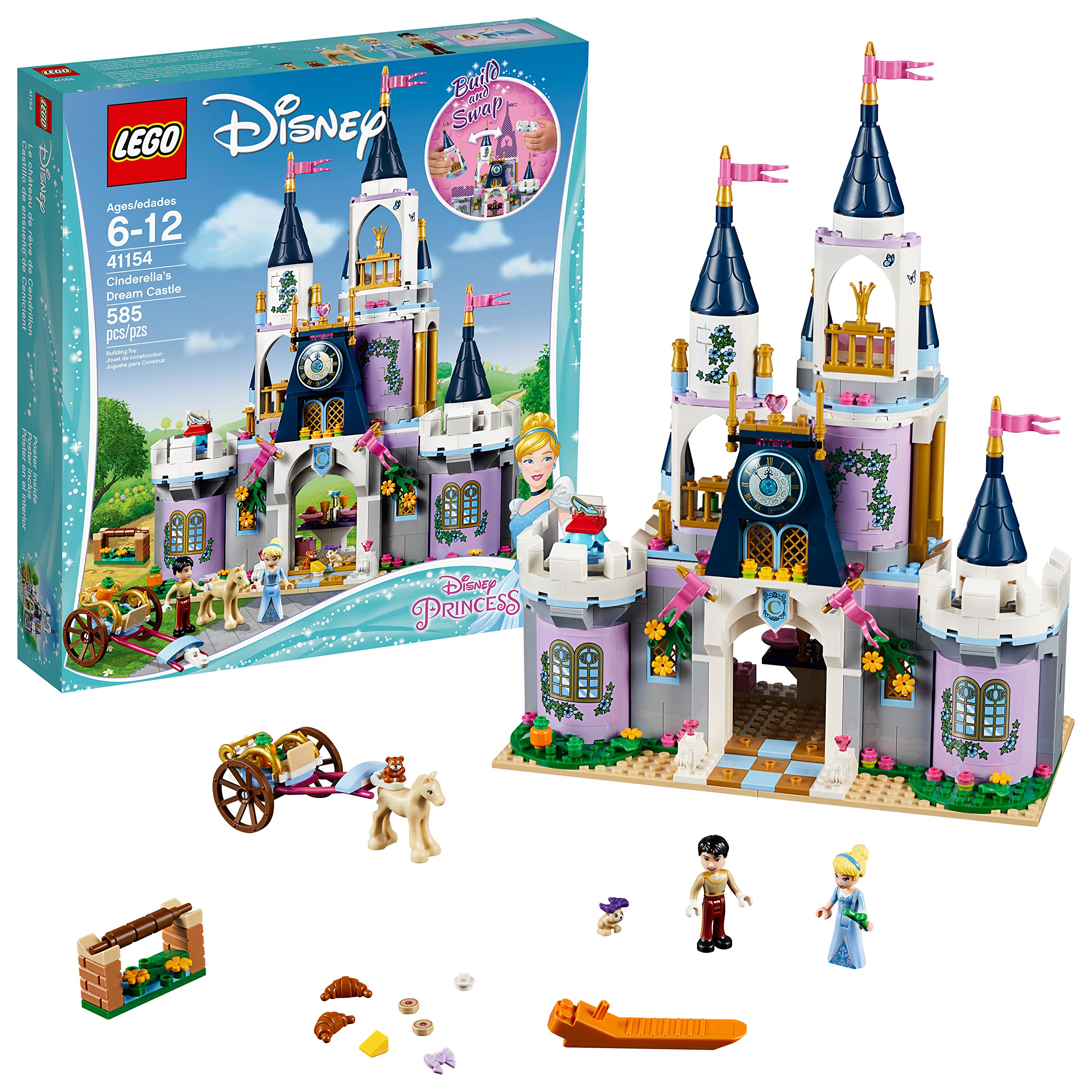 LEGO Disney Princess Cinderella's Dream Castle 41154 Popular Construction Toy for Kids (585 Pieces) by LEGO