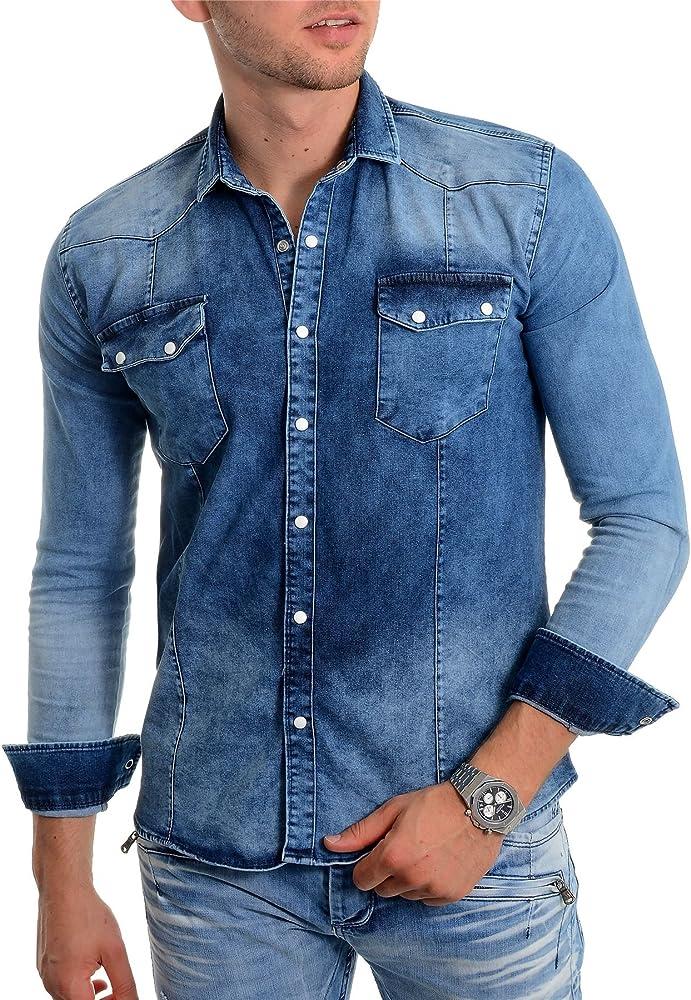 Camisa de Mezclilla Azul para Hombre, Tela Gruesa Manga Larga Botones de Metal: Amazon.es: Ropa y accesorios
